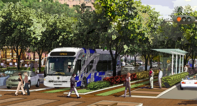 Uptown BRT Project bus rolling on street