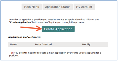 Create Application button screenshot