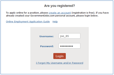 Job Seeker Login Screenshot.