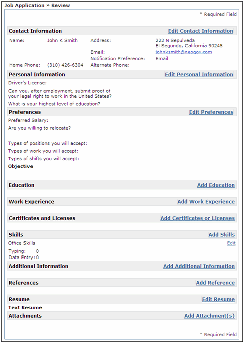 Review Job Application screenshot