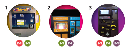 graphic of three different types of Ticket Vending Machiness.