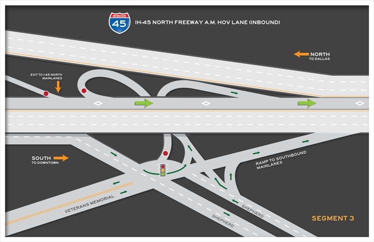 I-45 North inbound segment 3 map