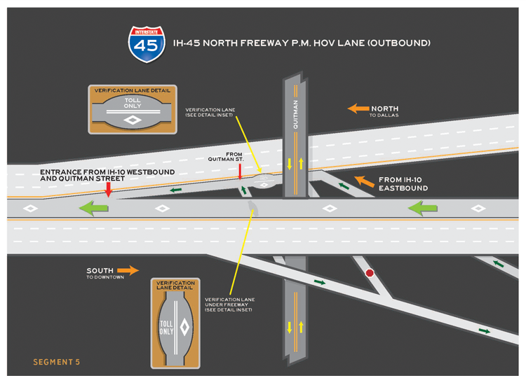 I-45 North inbound segment 5 map