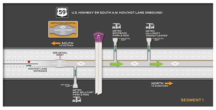 US 59 South inbound Segment 1 map