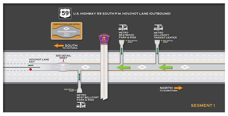 US 59 South outbound Segment 1 map