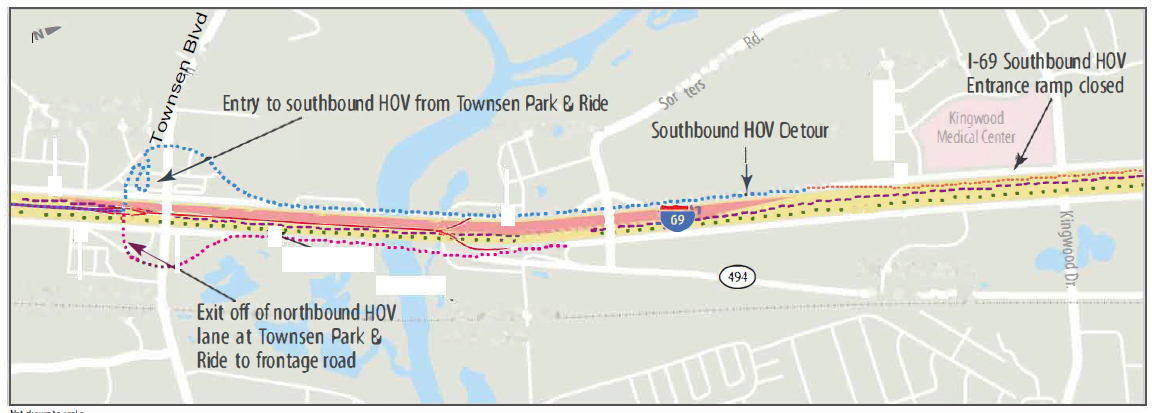 US 59N HOV / HOT lane overall access ramp map
