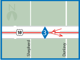 US 59S HOV lane access ramp map 3