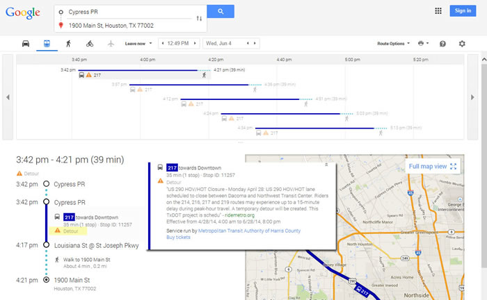 Google Transit detour route map