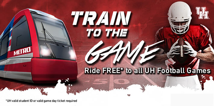 Ride METRORail for Free to see the Cougars!
