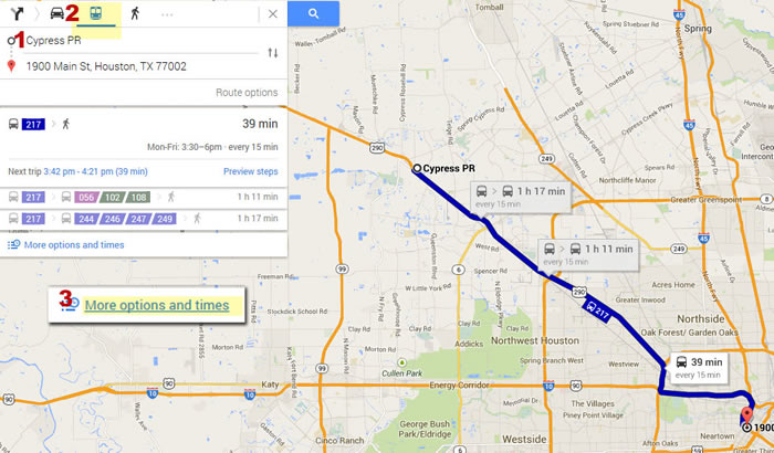 Google Transit three steps map
