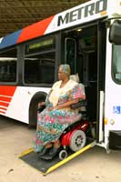 Para transit rider getting off local bus