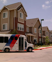 METROLift bus in residential area graphic